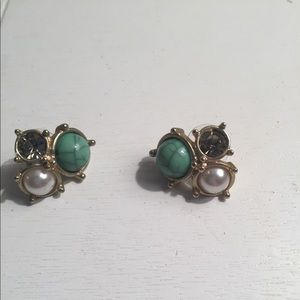 Anthropologie Earrings Pearl Crystal Turquoise A+